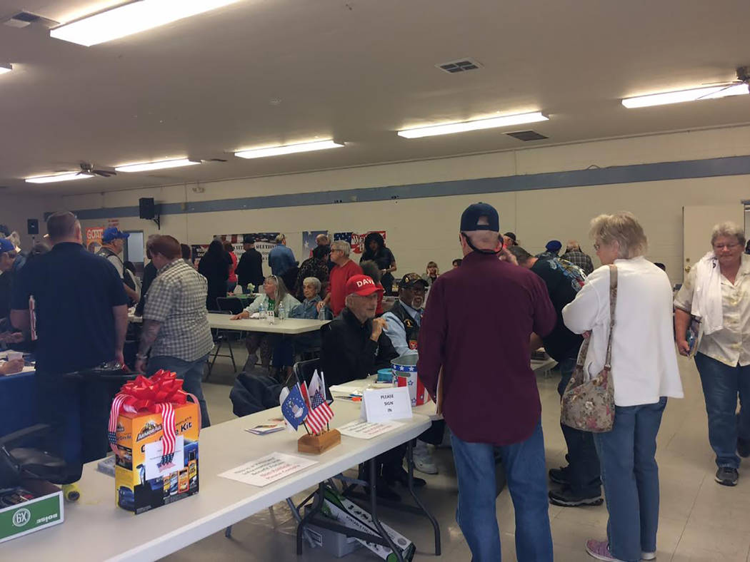 Robin Hebrock/Pahrump Valley Times The sign-is desk at the Veterans Extravaganza saw steady business during the six-hour event. Veteran attendees were able to sign in and receive a free raffle tic ...