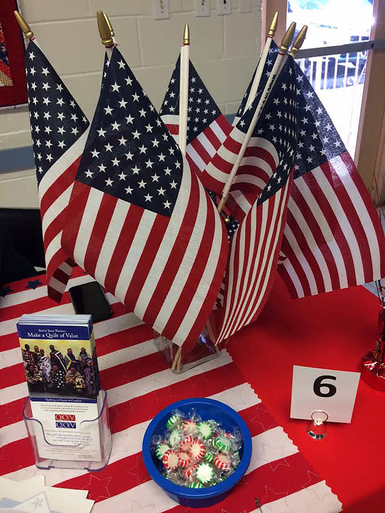 Robin Hebrock/Pahrump Valley Times Red, white and blue were on full display during the 2nd Annual Veterans Extravaganza. Some of the Nye County Valor Quilters' booth decorations are shown, with th ...