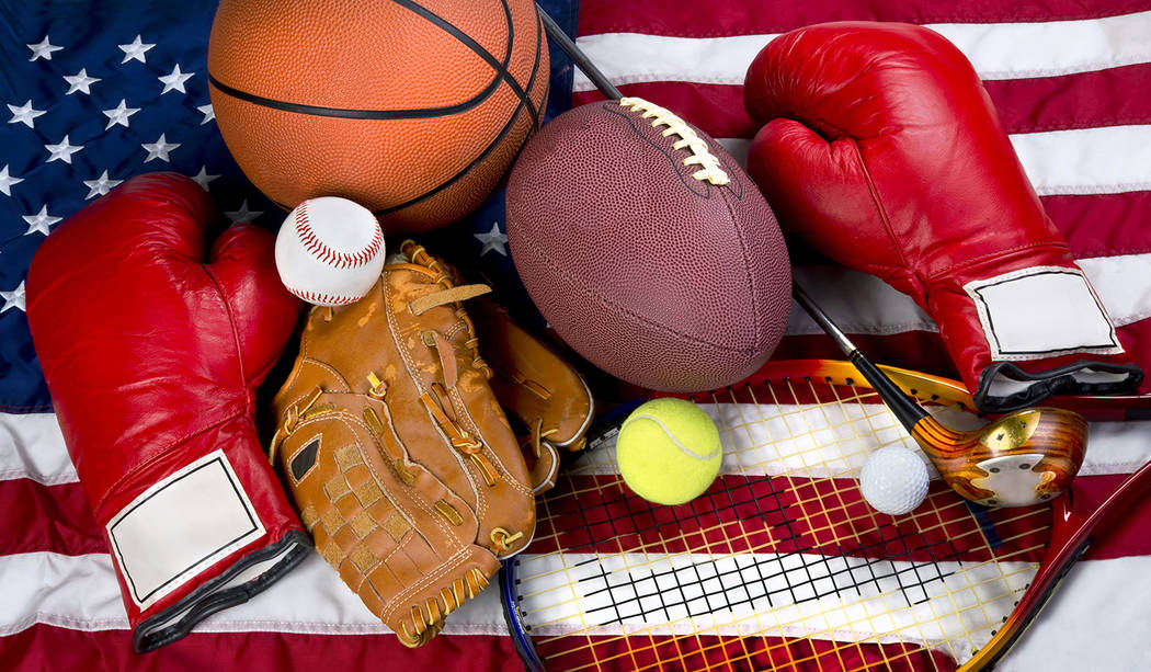 Thinkstock American sports showing boxing, baseball, tennis, basketball, football and golf.