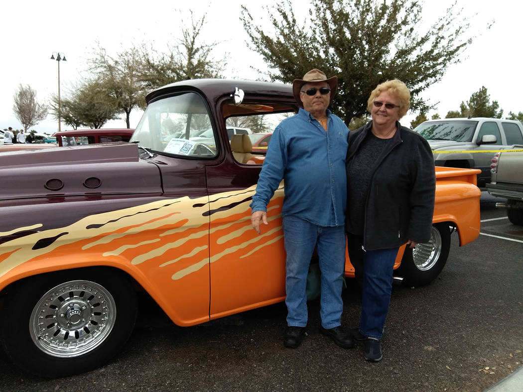Selwyn Harris/Pahrump Valley Times Local couple Tom and Vivian South won the People's Choice Award with their customized 1957 Chevy pickup truck.  The South's bought the vehicle less than a month  ...
