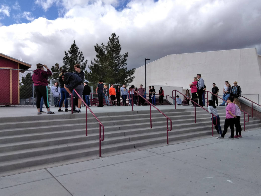 Selwyn Harris/Pahrump Valley Times Several Pahrump Valley High School students participate in a protest of gun violence and the National Rifle Association on March 14, 2018. Estimates climb into t ...