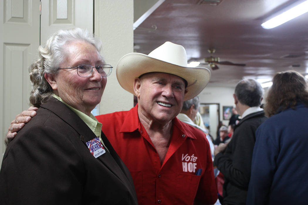 Robin Hebrock/Pahrump Valley Times Nevada businessman Dennis Hof hosted his campaign kick off with two separate events. Hof is pictured smiling with Nye County Sheriff Sharon Wehrly during his Hel ...