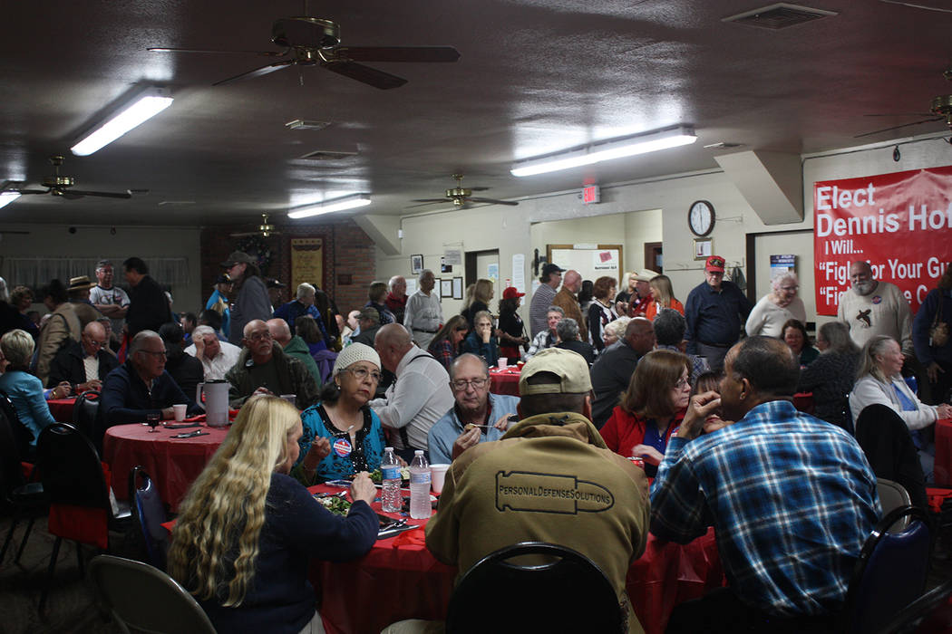 Robin Hebrock/Pahrump Valley Times Dennis Hof's Pasta Dinner campaign event on March 10 saw a big turnout, with Hof reporting that 300 hungry residents were served by Hell's Kitchen chefs Heather  ...