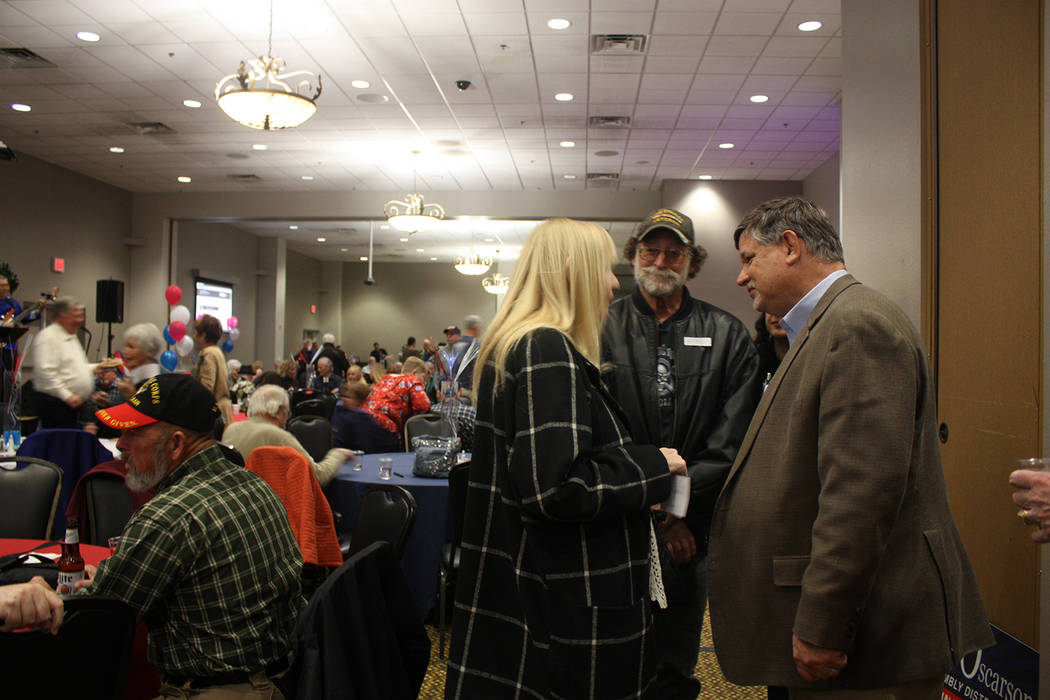 Robin Hebrock/Pahrump Valley Times There was a large crowd of attendees at Nevada Assemblyman James Oscarson's campaign kick off, held at the Pahrump Nugget Hotel and Casino on Feb. 9. Oscarson, r ...
