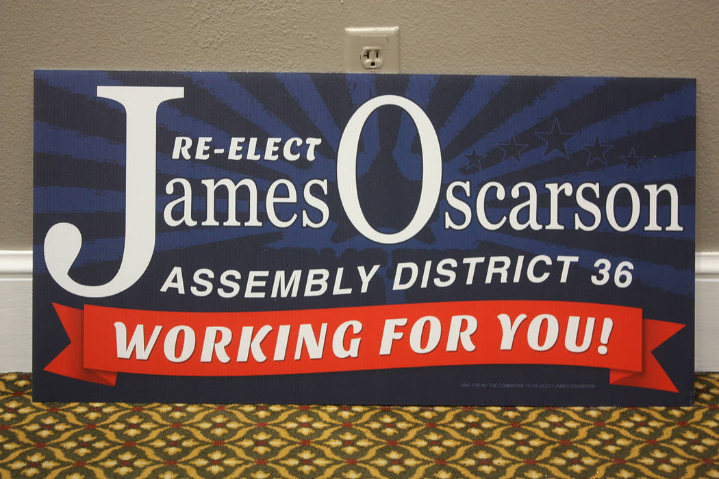 """Robin Hebrock/Pahrump Valley Times One of the mainstays of Oscarson's campaign for re-election to the Nevada Assembly is his assurance that he is """"Working for you!"""""""
