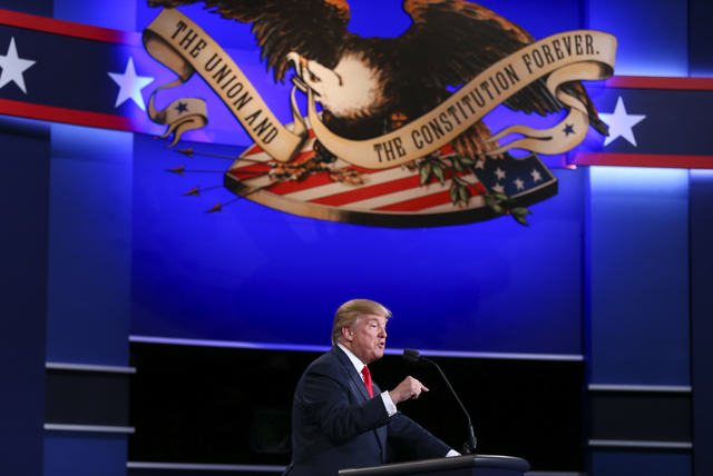 Chase Stevens/Las Vegas Review-Journal President Donald Trump at the presidential debate at the Thomas & Mack Center at the University of Nevada Las Vegas on Oct. 19, 2016. Trump, along with Vice  ...