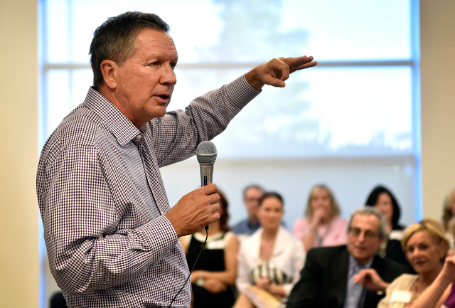 Ohio Gov. John Kasich speaks at the Clark County Republican Party headquarters in Las Vegas on Thursday, June 11, 2015. Kasich is traveling the country before he makes his final decision whether o ...