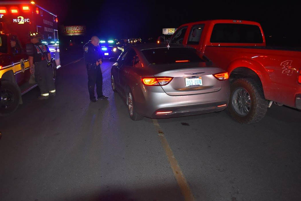 Special to the Pahrump Valley Times Pahrump fire crews were dispatched to Highway 372, just east of Linda Street on Thursday March 15, after a two car collision occurred at 7:38 p.m. One person wh ...