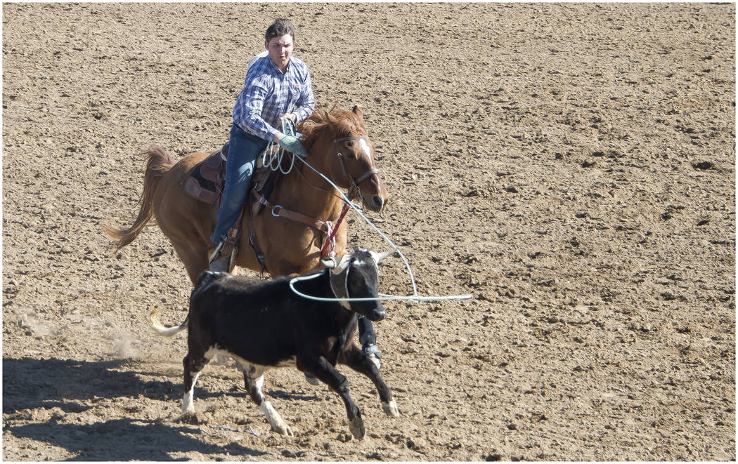 Drew Hall/Special to the Pahrump Valley Times Roping skill is on display at McCullough Arena during a high school rodeo event Feb. 24.