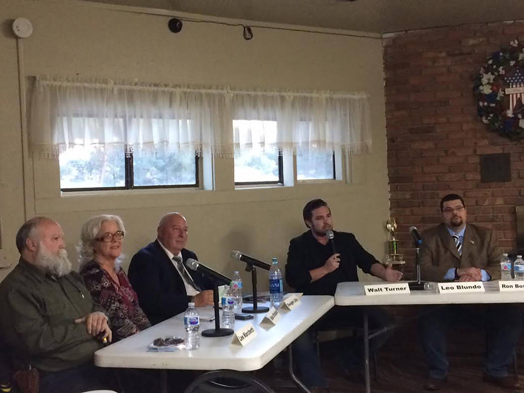 Robin Hebrock/Pahrump Valley Times Shown from right to left are commission candidates Leo Blundo, District 4, Walt Turner, District 4, Dwight Lilly District 5, Debra Strickland, District 5 and Leo ...