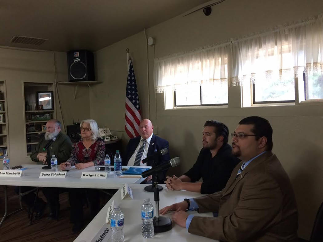 Robin Hebrock/Pahrump Valley Times There were five total commission candidates participating on Monday night. From left to right are Leo Marchetti, District 4, Debra Strickland, District 5, Dwight ...