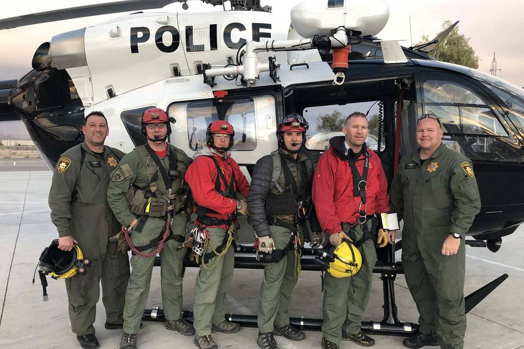 The Las Vegas Metropolitan Police Department's search and rescue team completed the first successful rescue with an Airbus H145 in the United States. (Clark County Sheriff Joe Lombardo/Twitter)