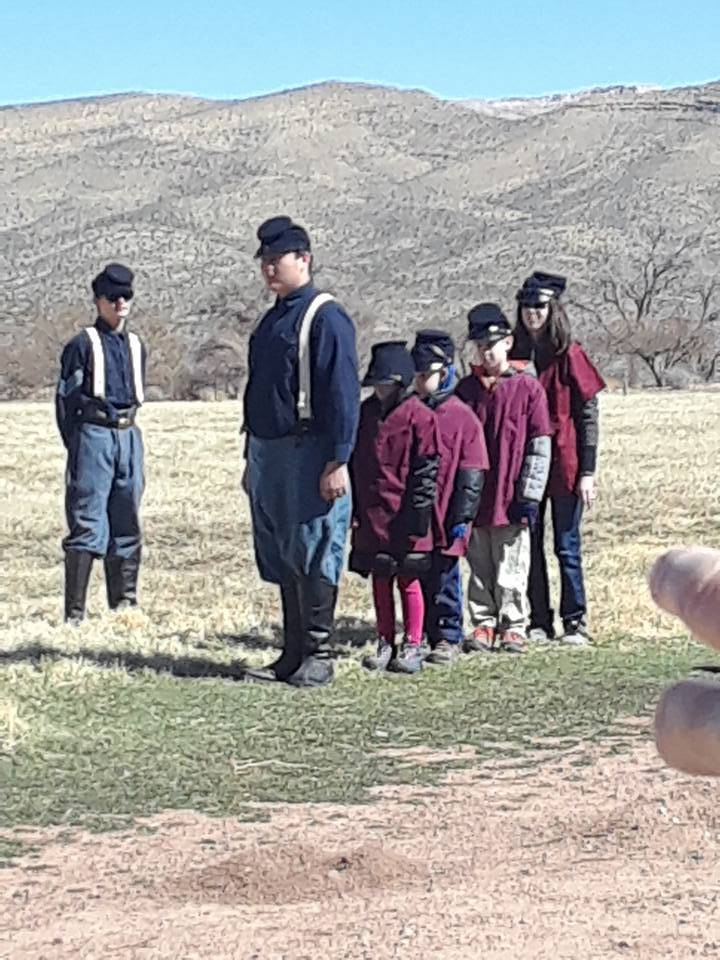 Nevada Civil War History Association Inc./Special to the Pahrump Valley Times Participants in an event by the Nevada Civil War History Association learn how to march as soldiers did during the Civ ...