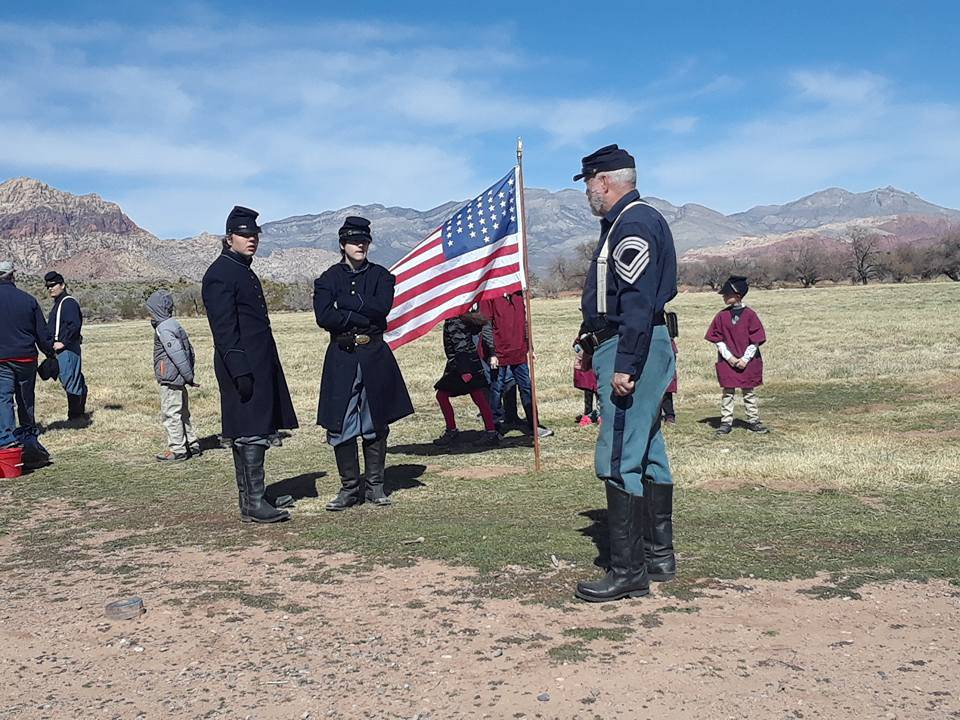 Nevada Civil War History Association Inc./Special to the Pahrump Valley Times Members of the Nevada Civil War History Association prepare their troops for battle at Spring Mountain Ranch State Par ...