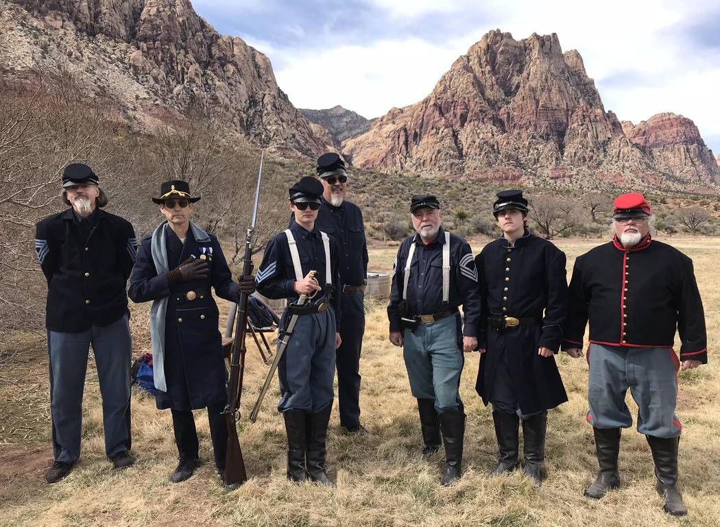 Jeffrey Meehan/Pahrump Valley Times Members of the Nevada Civil War History Association Inc., a group that teaches people how to engage on the battlefield of the Civil War era stands for a photo a ...
