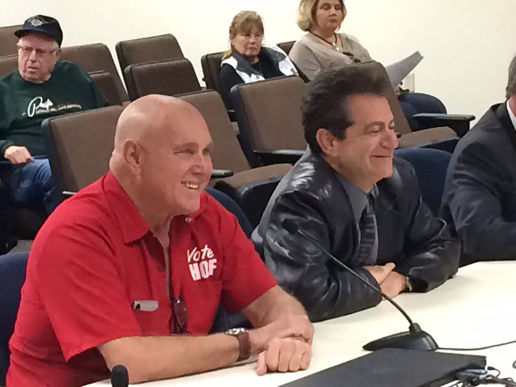 Robin Hebrock/Pahrump Valley Times Love Ranch owner Dennis Hof and his legal representative Marc Risman appeared before the Nye County Liquor and Licensing Board on March 16, when Hof's brothel wa ...