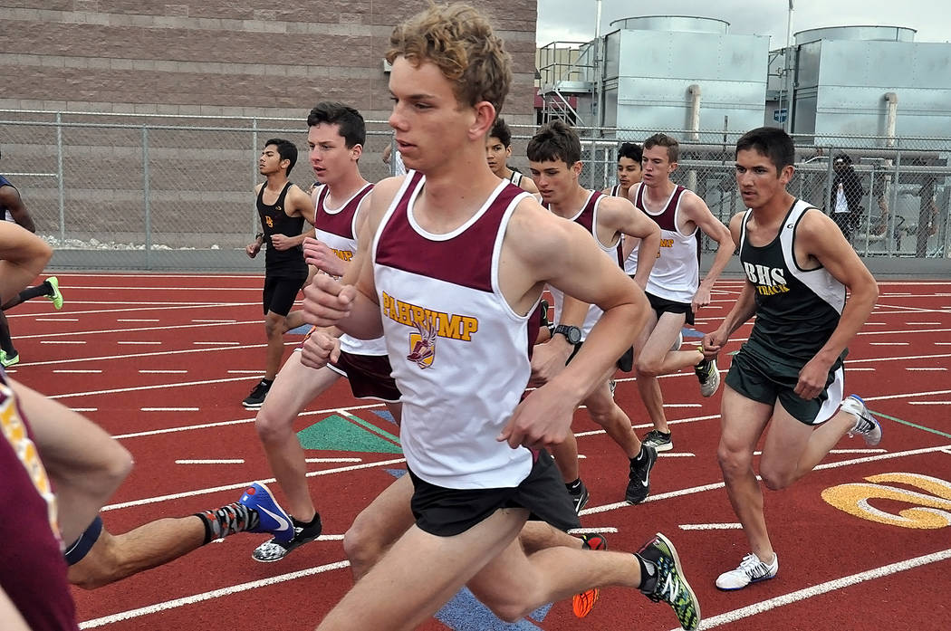 Horace Langford Jr./Pahrump Valley Times Layron Sonerholm of Pahrump Valley competes in the 1,600 meters at the Pahrump Valley Weekday track meet March 21. Off his right shoulder is Brandon Ruud,  ...