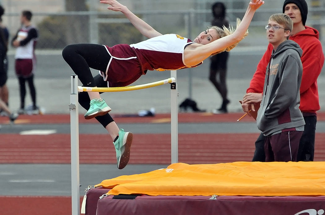 Horace Langford Jr./Pahrump Valley Times Jersey Farnsworth's personal-record 4 feet, 8 inches led the Trojans to third place in the high jump at the O'Dea Relays at Palo Verde High School in Las ...