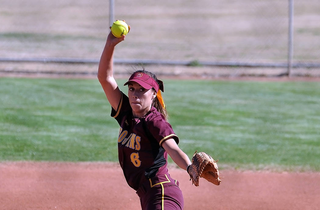 Horace Langford Jr./Pahrump Valley Times Amaya Mendoza pitched Pahrump Valley to an 11-8 softball victory over Durango on March 23 in Pahrump. Mendoza also went 2-for-4 with four RBIs, a run score ...