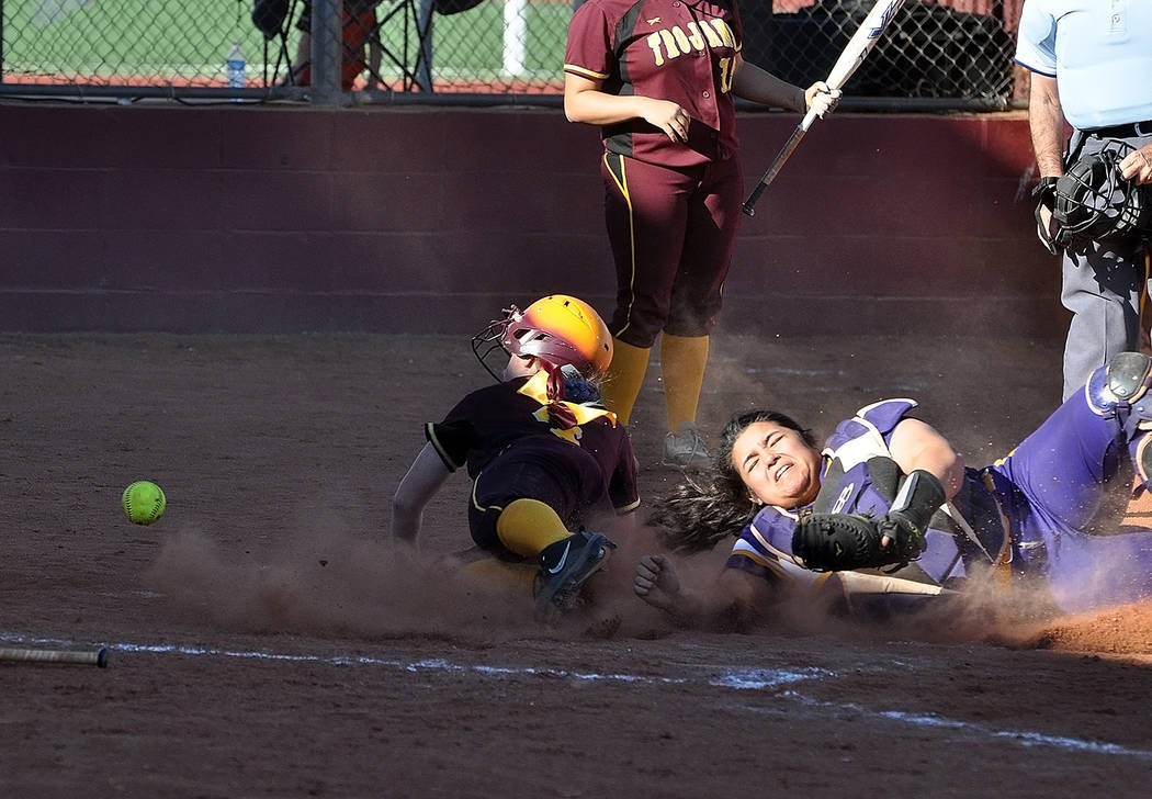 Horace Langford Jr./Pahrump Valley Times Pahrump Valley's Kathy Niles scores a run during a six-run fourth inning that helped the Trojans defeat Durango 11-8 on March 23 in Pahrump.