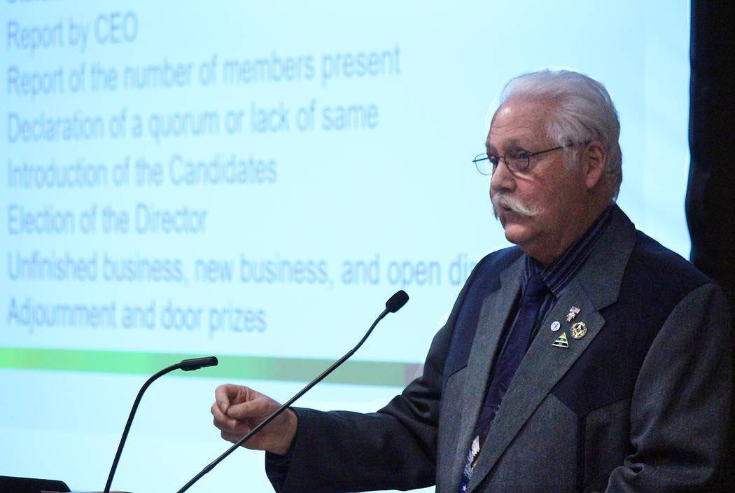 Jeffrey Meehan/Pahrump Valley Times Three-time incumbent for Valley Electric Association Inc.'s District 1 (south Pahrump) board of director seat speaks on the area's  annual meeting on March 22,  ...
