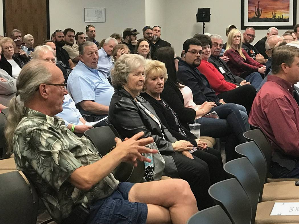 Jeffrey Meehan/Pahrump Valley Times Member-owners of Valley Electric were able to ask questions of Valley Electric at the cooperative's annual area meeting on March 22, 2018. Several members voice ...
