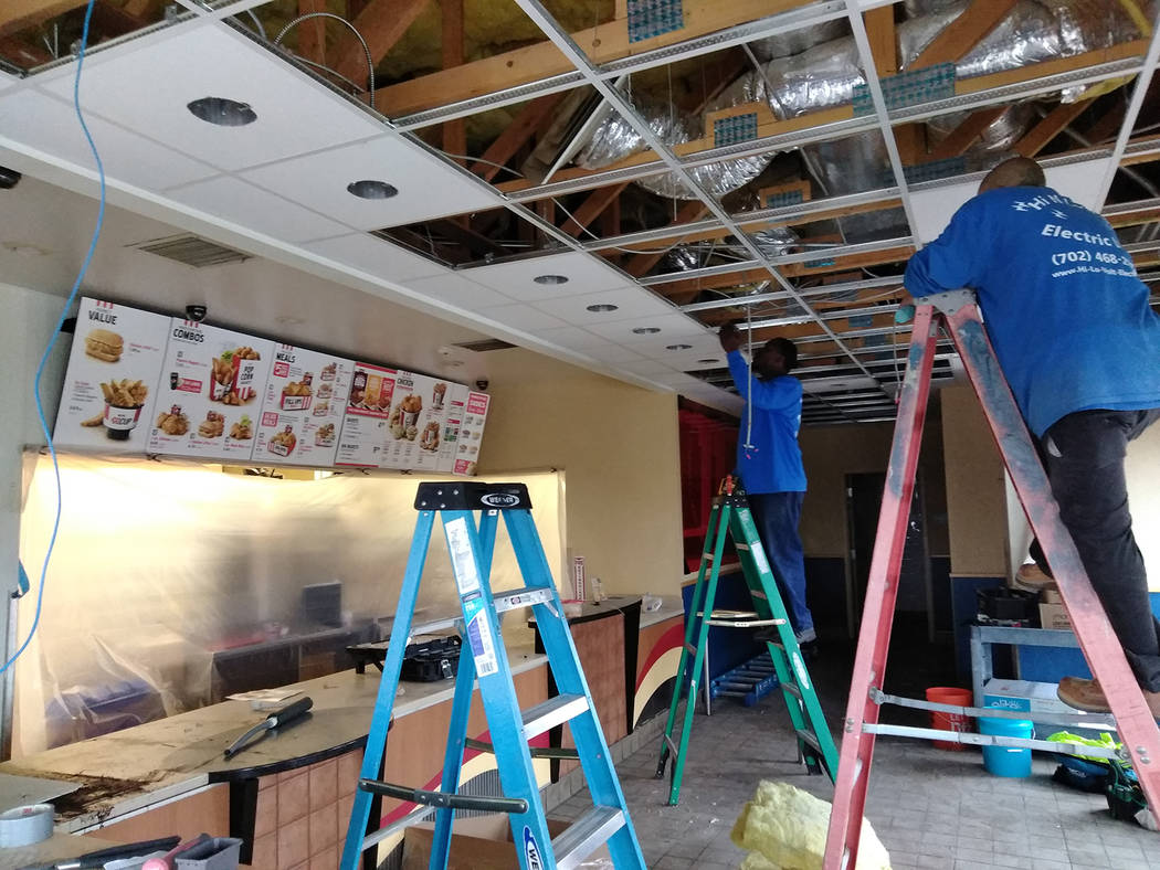 Selwyn Harris/Pahrump Valley Times New walls and ceilings will be part of the decor in KFC's lobby and dining room as an interior upgrade is now taking place at the business. Additionally, energy  ...