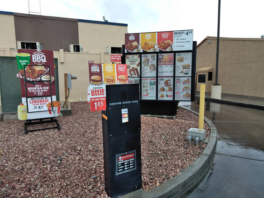 Selwyn Harris/Pahrump Valley Times For the next few weeks, customers at KFC will be forced to use the drive-thru to place their orders, as an image enhancement project is now underway in the lobby ...