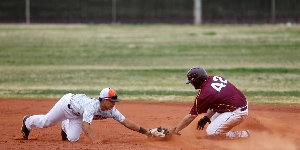 K.M. Cannon/Las Vegas Review-Journal Nico Velazquez of Pahrump Valley is safe at second base during a March 21 game against Chaparral in Las Vegas.