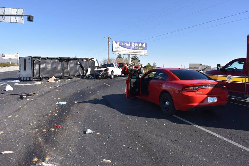 Special to the Pahrump Valley Times Traffic was diverted around a two-vehicle collision along Highway 160 and Homestead Road on Sunday afternoon March 25, just before 4 p.m. Two people transported ...