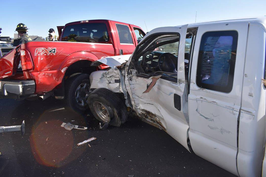 Special to the Pahrump Valley Times One occupant self-extricated from a two-vehicle crash prior to the arrival of first responders at Homestead Road and Highway 160 on Sunday afternoon. Upon arriv ...