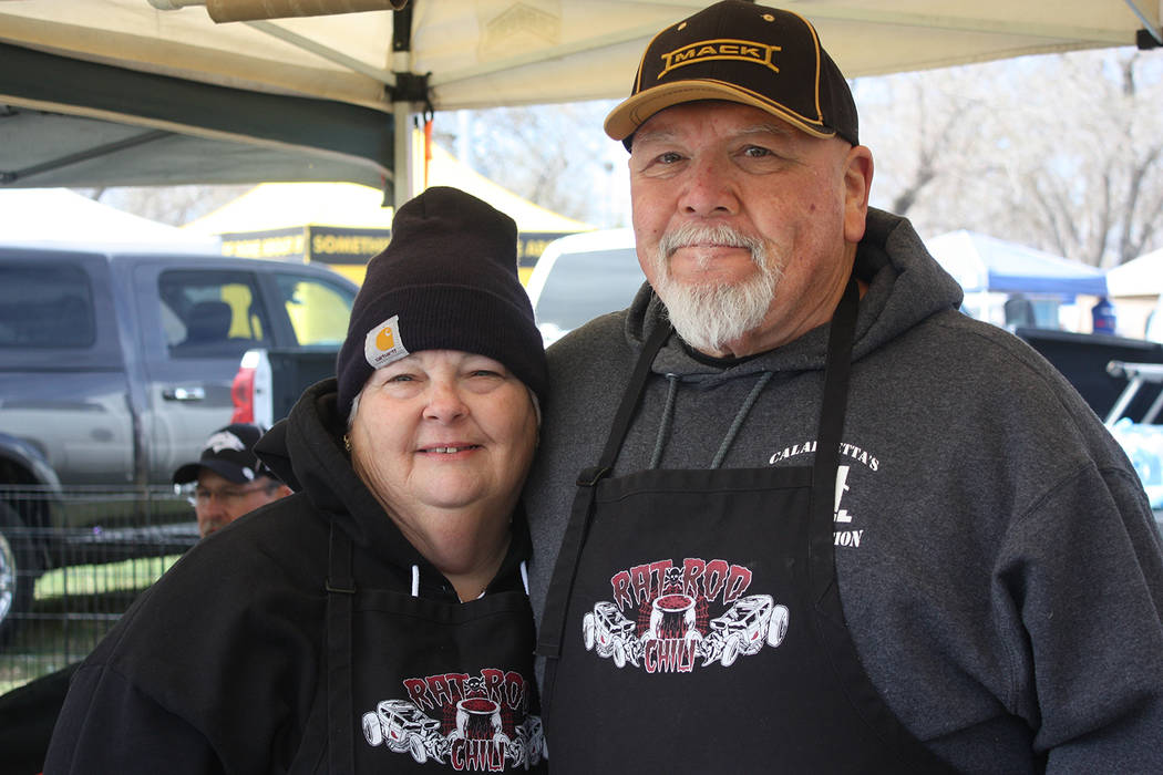 Robin Hebrock/Pahrump Valley Times Pausing in their preparations for the ICS Chili Cook Off, Ron and Laurie Boisseranc posed for a photo. Laurie, the 2017 Salsa World Champion, was cooking Chili V ...
