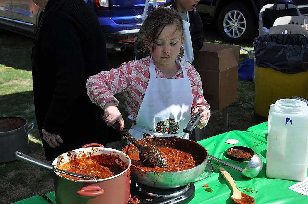 Horace Langford Jr./Pahrump Valley Time On Sunday, the ICS Chili Cook Off included a Youth division. Eight-year-old Juliana Graham is pictured cooking her chili. She was one of three youth competi ...