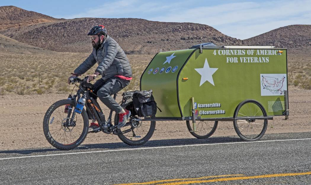 Richard Stephens/Special to the Pahrump Valley Times Eli Smith was not injured, and the damage to the trailer was repairable. He is shown pedaling between Lathrop Wells and Beatty before the hit-a ...