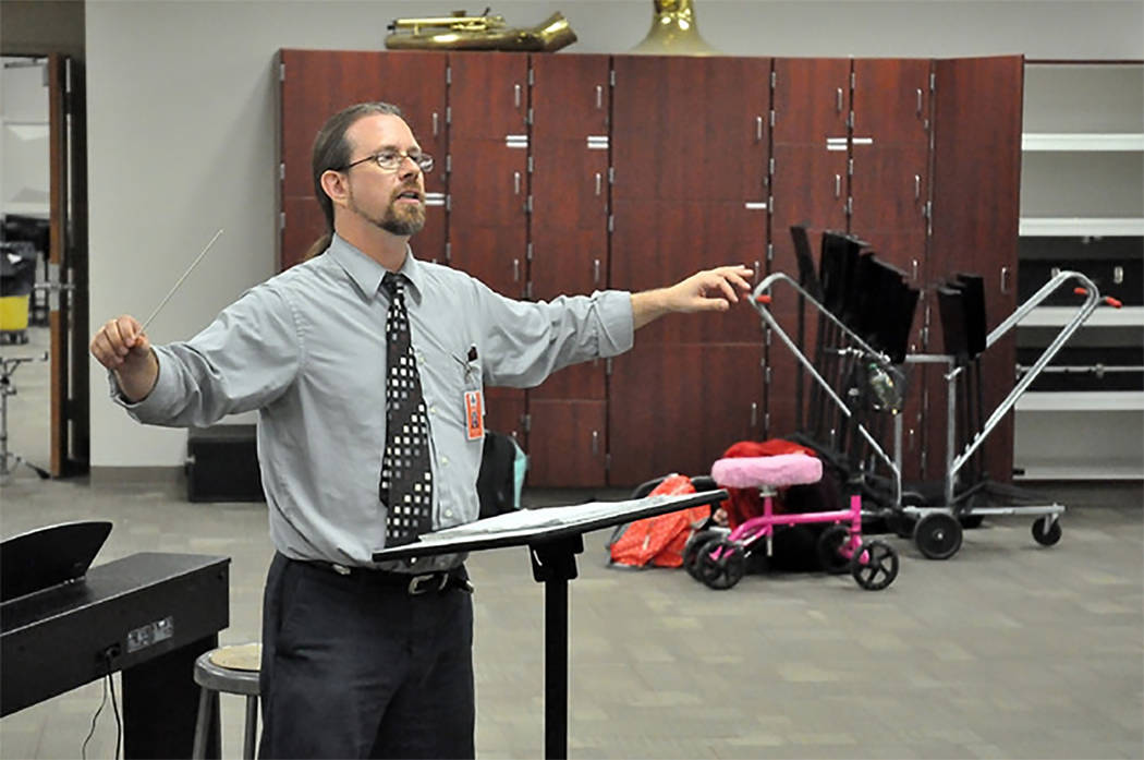 Selwyn Harris/Pahrump Valley Times Pahrump Valley High School Music Director Mike Wineski is hoping to raise enough cash for a trip to perform at a special Pearl Harbor observance Hawaii come Dece ...