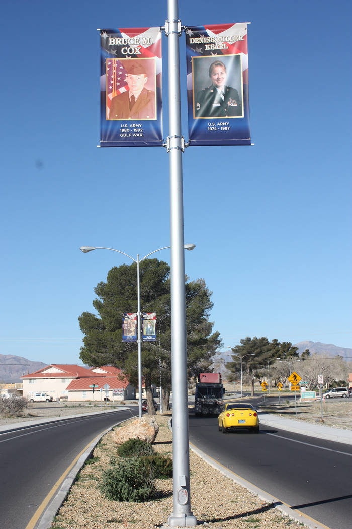 Robin Hebrock/Pahrump Valley Times The veterans banners have been placed on the light poles that divide Calvada Blvd., where daily traffic will ensure they are seen by many locals and visitors.
