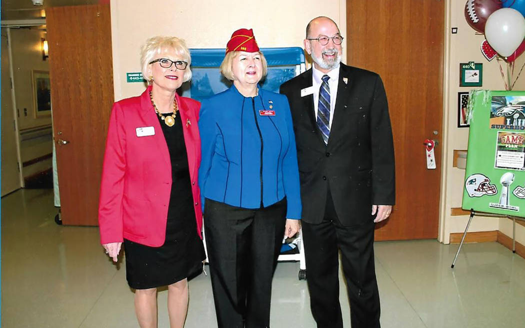 Chuck Baker/Special to the Pahrump Valley Times This photo shows (from left) Linda Gellinger, administrator of the Nevada State Veterans Home in Boulder City; Denise H. Rohan, national commander o ...