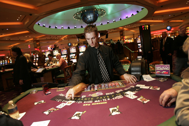 Blackjack dealer Johnny Dellerba works a table at the Hard Rock hotel and casino Wednesday, Jan. 31, 2007, in Las Vegas. (JOHN GURZINSKI/LAS VEGAS REVIEW -JOURNAL)