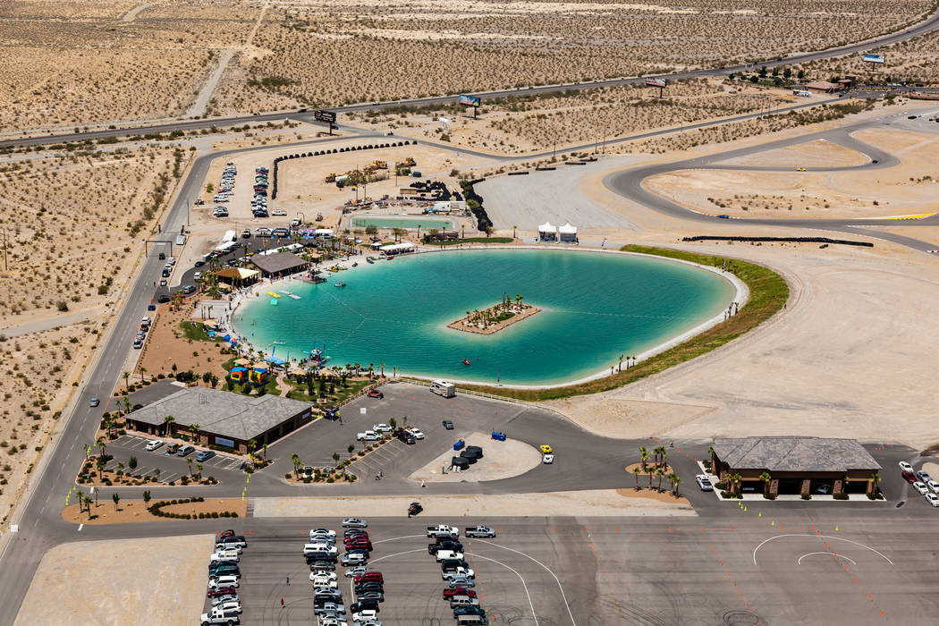 Special to the Pahrump Valley Times An aerial view of the four-acre lake at the Spring Mountain Motor Resort and Country Club. Spring Mountain is in the planning stages of building a 15-mile track ...