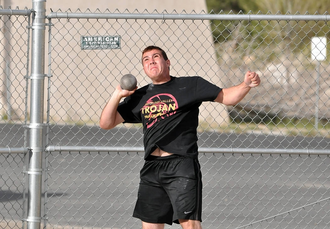 Horace Langford Jr./Pahrump Valley Times Jeremy Albertson, shown with the shot put last year, has yet to surpass his personal record in the discus, but his throw of 155 feet, 9 inches last month i ...