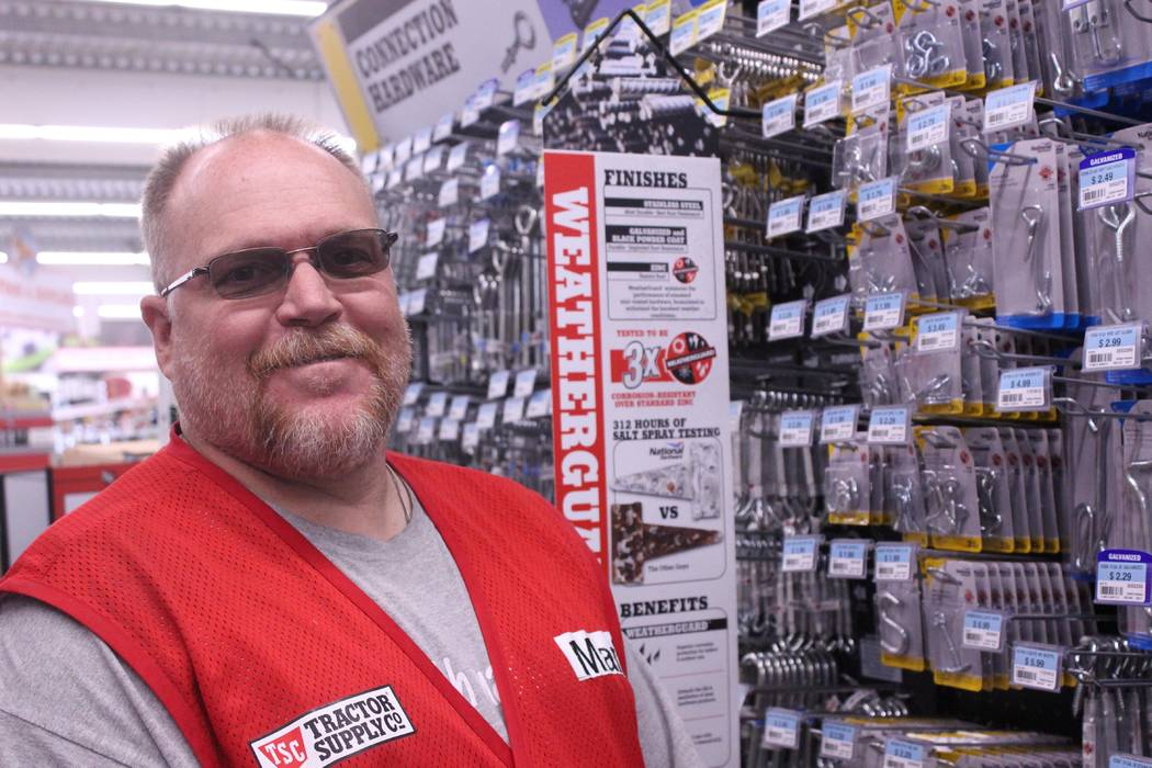 Jeffrey Meehan/Pahrump Valley Times Mark Slingerland, general manager of Tractor Supply Co. in Pahrump, stands at the new location at 900 E Highway 372 on Oct. 23, 2017. Slingerland worked to open ...