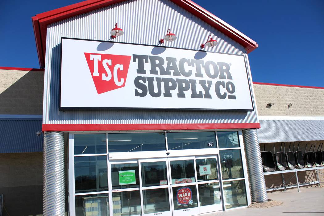 Jeffrey Meehan/Pahrump Valley Times The sign hangs at the new Tractor Supply Co. The location at 900 E Highway 372 is open for regular hours, from 8 a.m. to 9 p.m. The store is open on Sunday fro ...