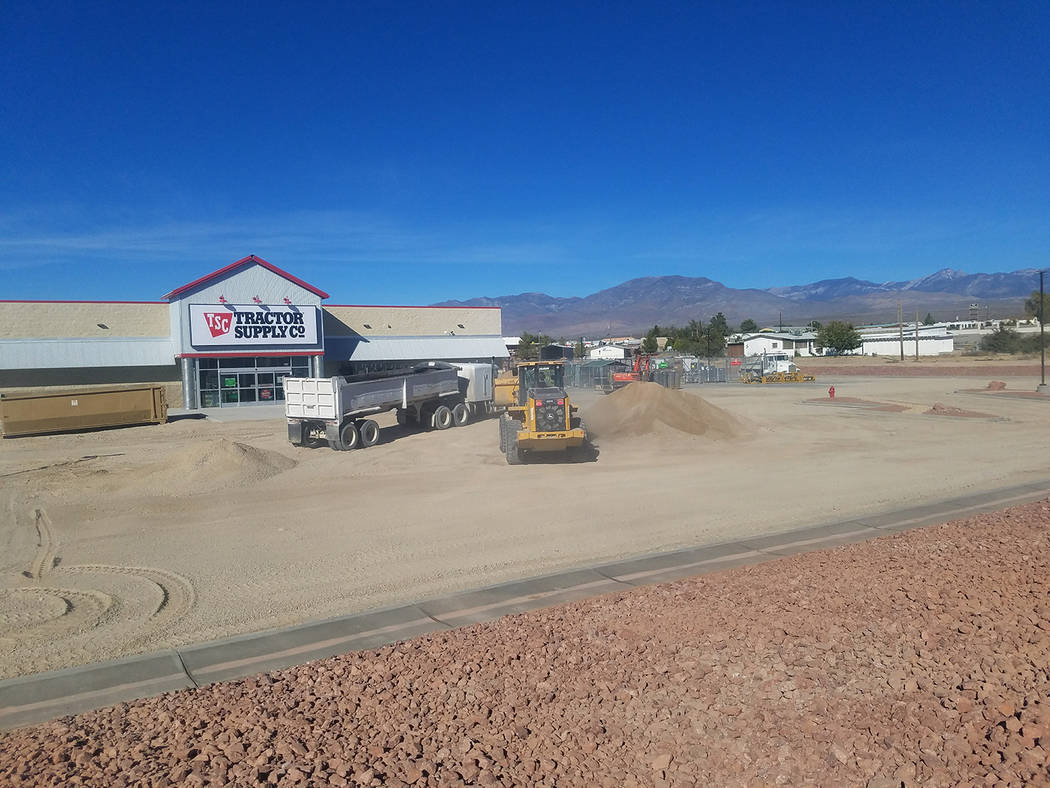 David Jacobs/Pahrump Valley Times Construction crews build the Tractor Supply Co. location in Pahrump as shown in this fall 2017 photo. The store's opening added to the community's retail businesses.