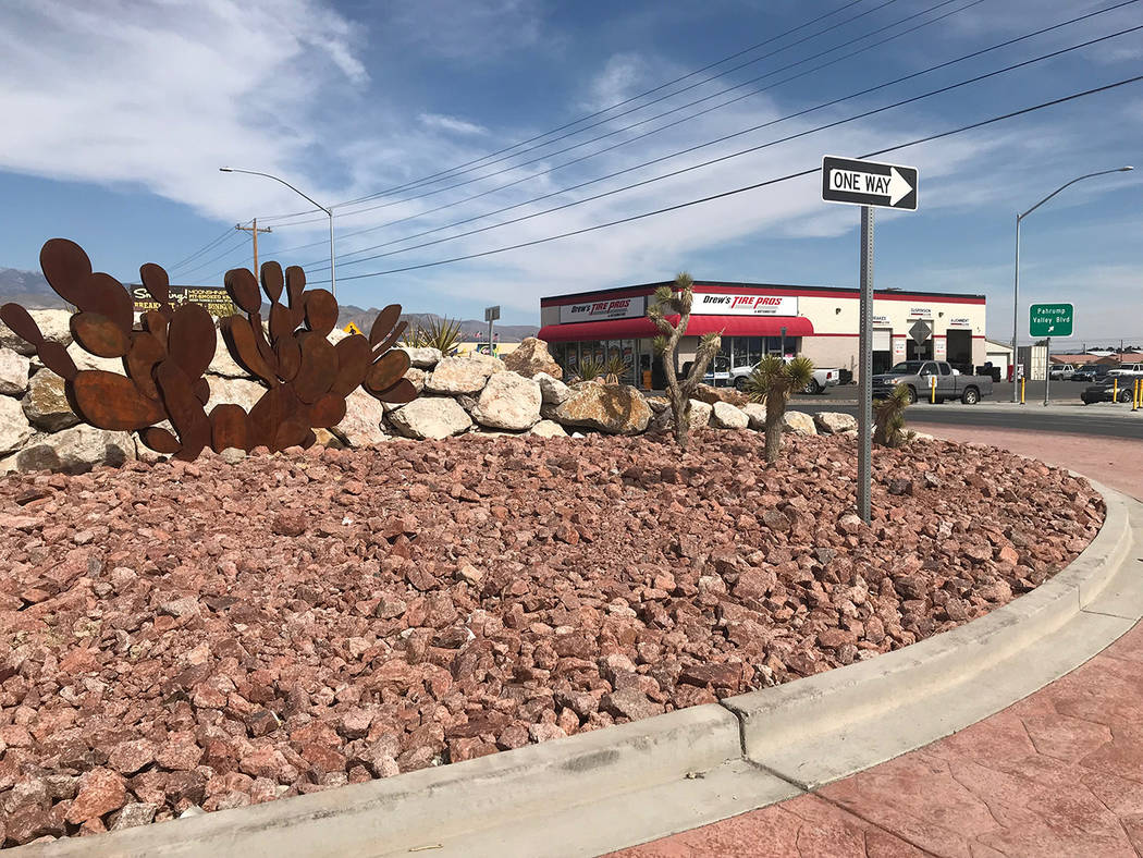 Jeffrey Meehan/Pahrump Valley Times The roundabout at Highway 372 and Pahrump Valley Boulevard on April 24, 2018. Construction on the project was completed in May 2017.