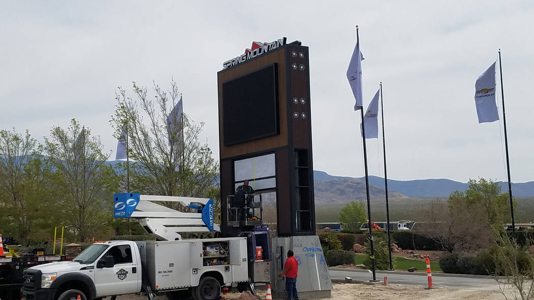 David Jacobs/Pahrump Valley Times A new sign is being installed outside the Spring Mountain Resort & Country Club. The local area is on a path to see a major brand hotel, along with a casino, movi ...