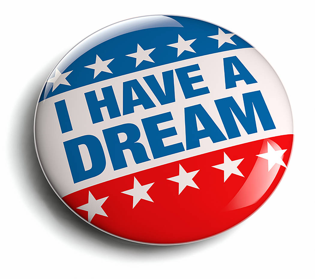 """Thinkstock An """"I have a Dream campaign badge image"""" is shown in this photo. Martin Luther King Jr.'s """"I Have a Dream"""" speech was given in 1963. King was assassinated in 1968."""