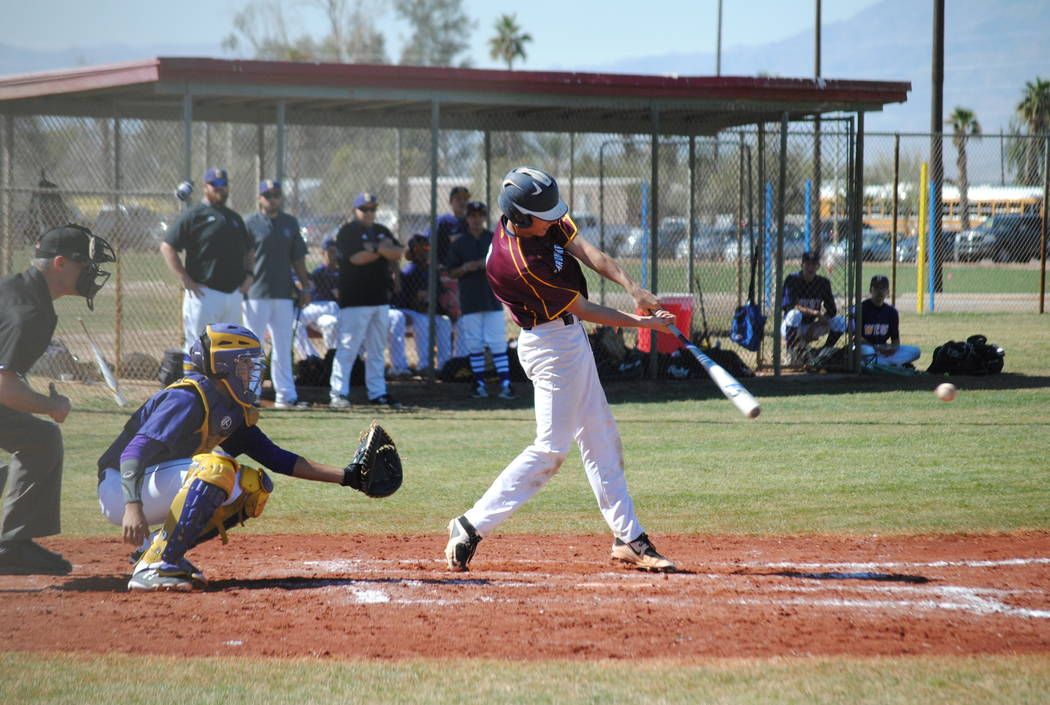 Charlotte Uyeno/Pahrump Valley Times Garrett Lucas went 2-for-3 with a triple, three RBIs and a run scored Monday as the Pahrump Valley baseball team defeated Virgin Valley 4-1 in Mesquite.