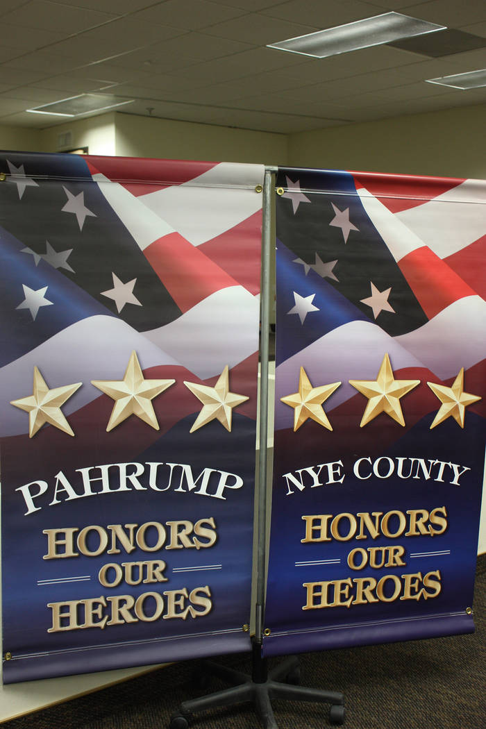 Robin Hebrock/Pahrump Valley Times The banners declaring Nye County and Pahrump's support for veterans were on display during the ceremony to celebrate the launch of the Nye County Veterans Banner ...