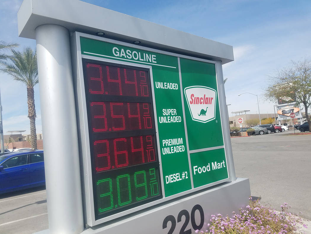 David Jacobs/Pahrump Valley Times The higher gas prices in Nevada are shown on this sign near McCarran International Airport on Saturday, April 7 in Las Vegas. The prices have been on the rise aro ...