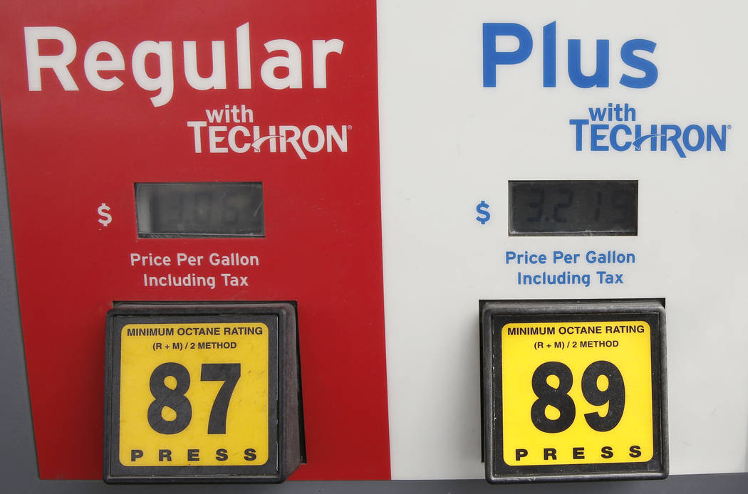 Bizuayehu Tesfaye/Las Vegas Review-Journal Gas prices are at Chevron gas station off Fort Apache Road on Monday, April 2, 2018, in Las Vegas.  The prices are increasing around the state.